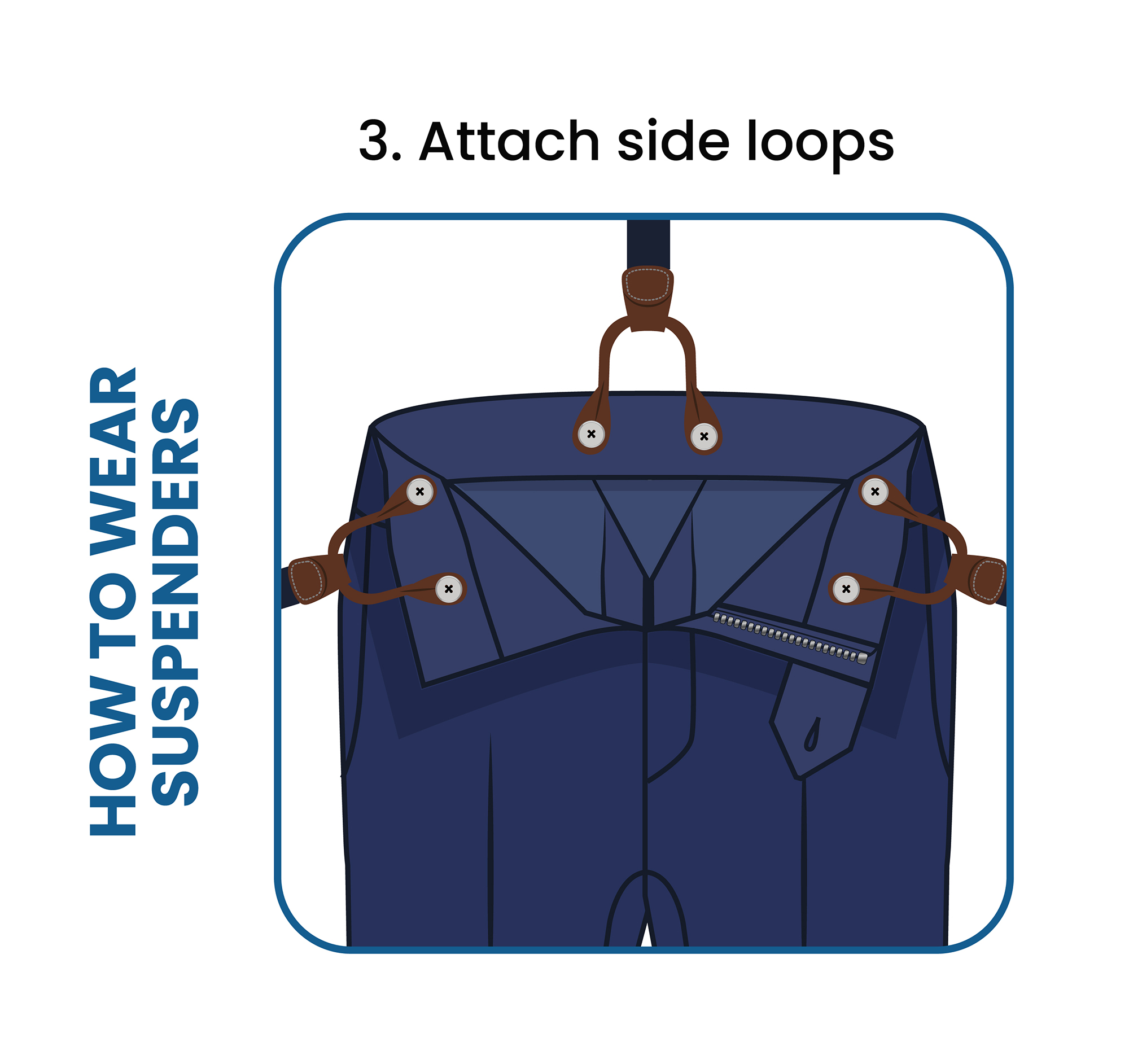 How to put on suspenders step 3: attach the front tabs