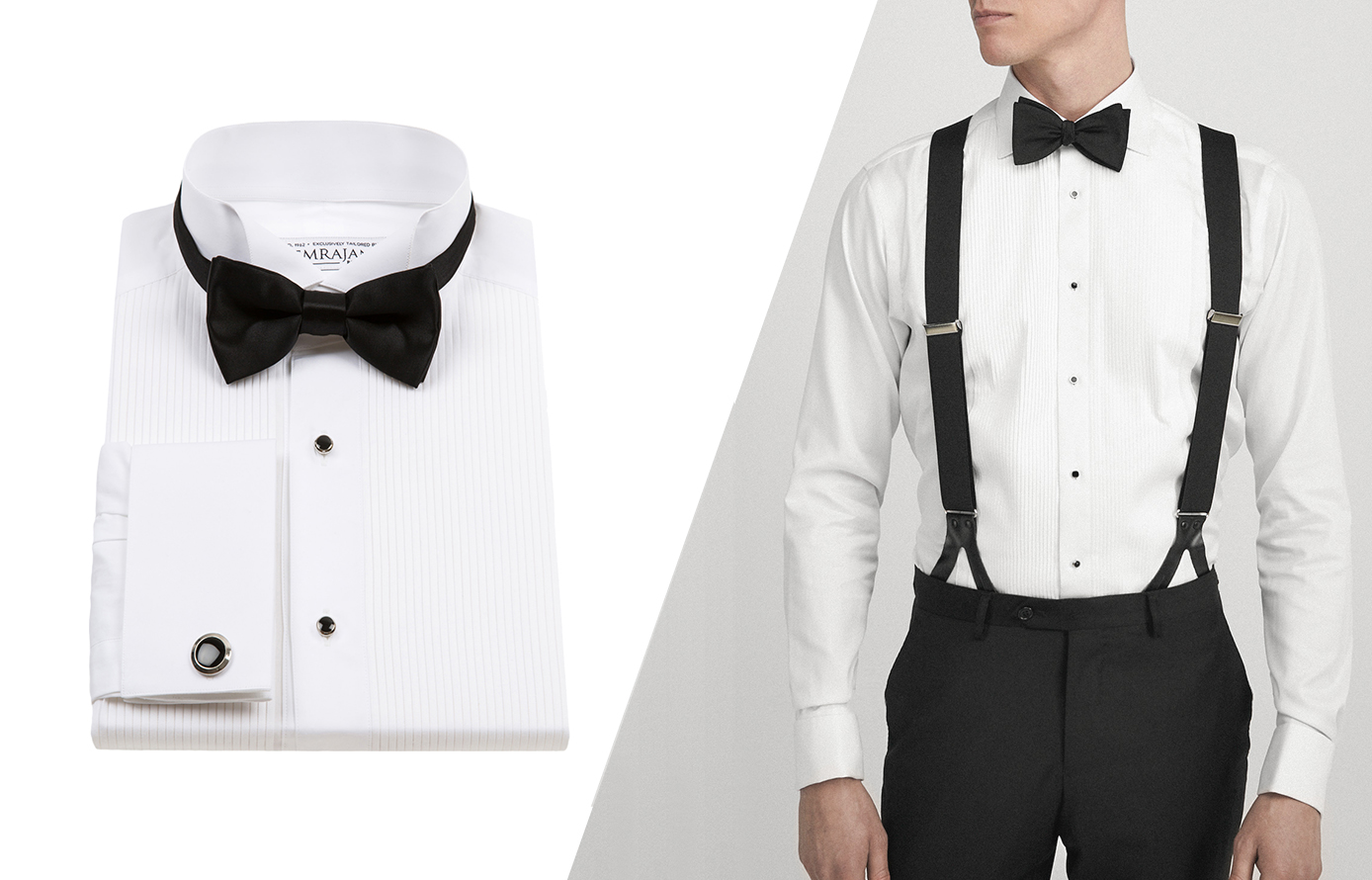 how to wear suspenders with tuxedo shirt