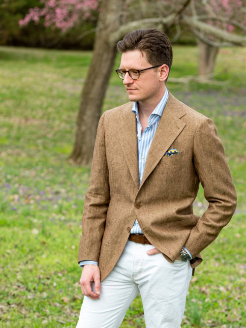 how to wear tweed suit jacket during summer