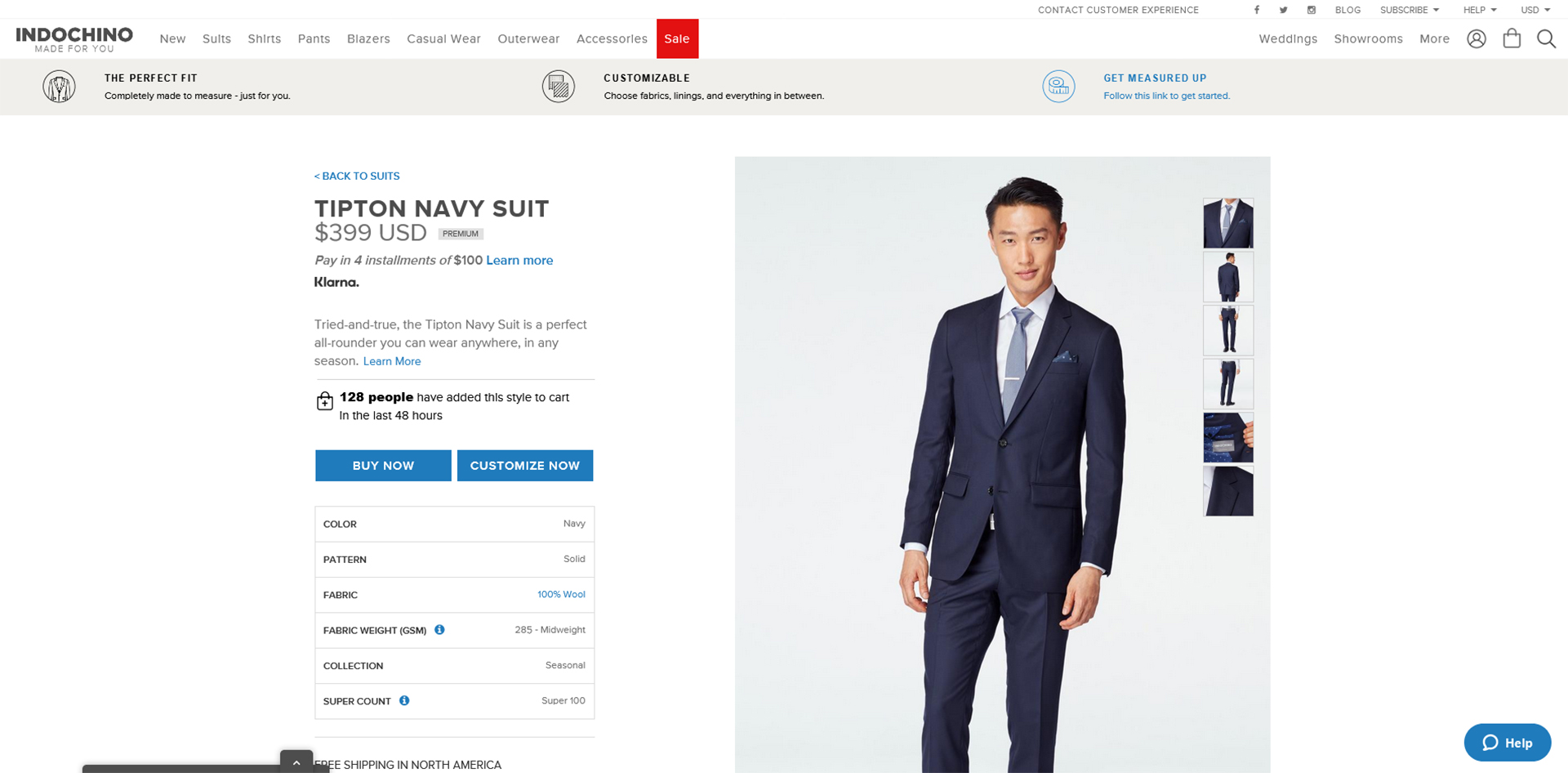 Indochino made-to-measure suit online customization