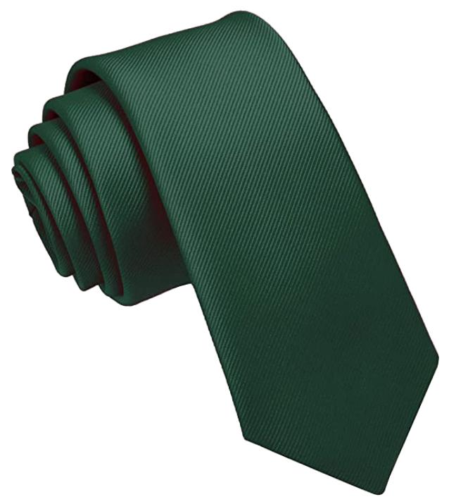 Skinny dark green tie by Jemygins