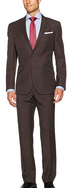 Slim-fit brown suit by Kenneth Cole