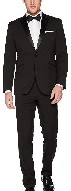 Kenneth Cole Reaction notch lapel slim fit black tuxedo