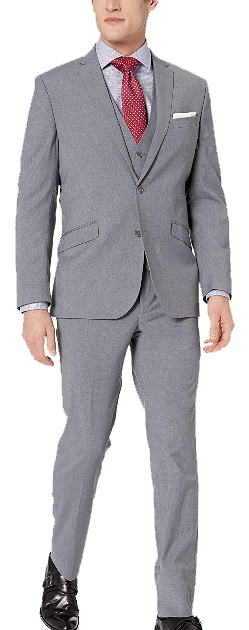 Three-piece slim fit grey suit by Kenneth Cole