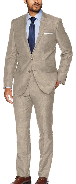Stretch tan slim-fit suit by Kenneth Cole