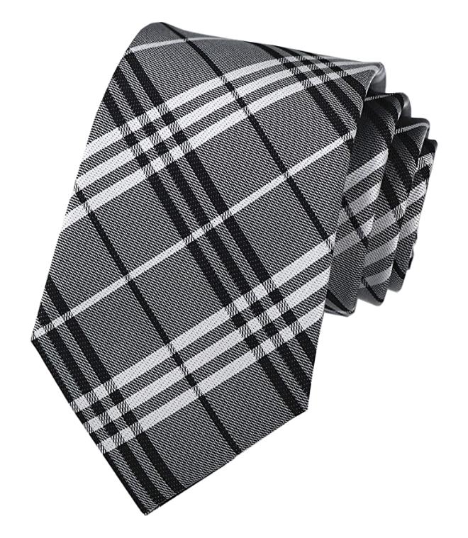 Black, white & grey striped tie by Kihatwin