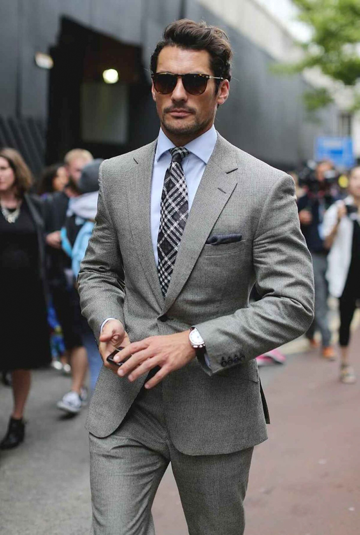 Light grey suit and blue shirt color combination