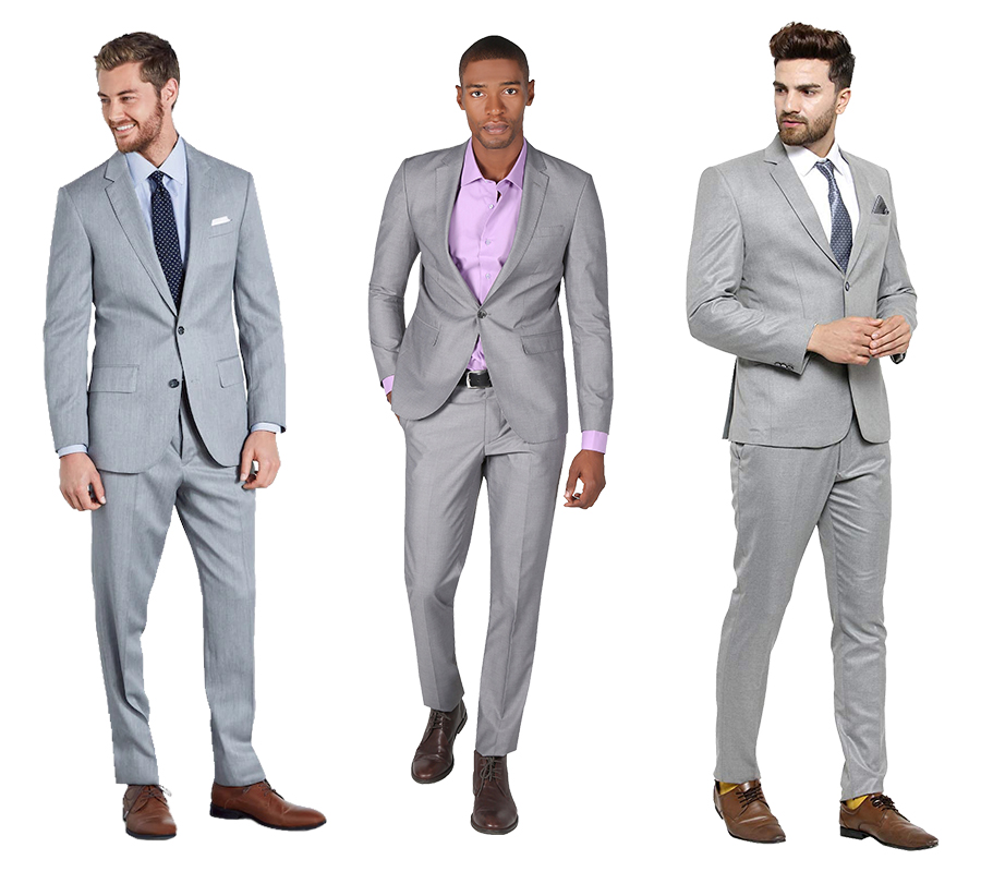 Light grey suit color combinations with different shirt and tie color