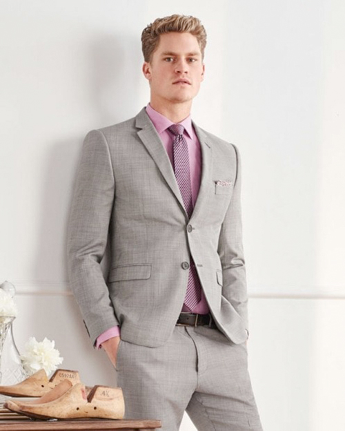 Light grey suit and pink shirt color combination