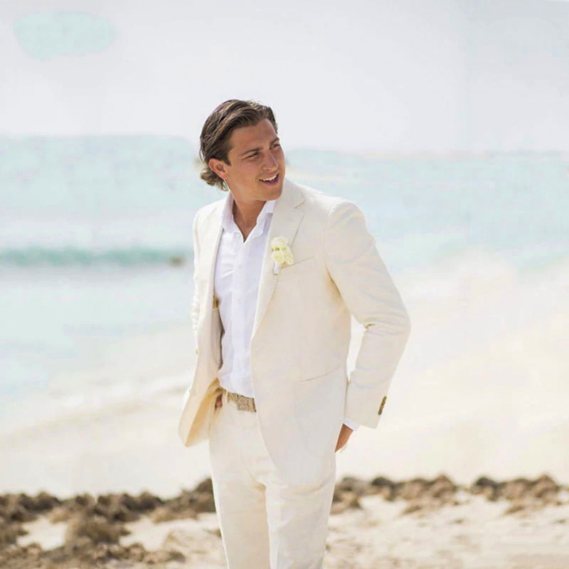 Wedding suit made of linen for summer season