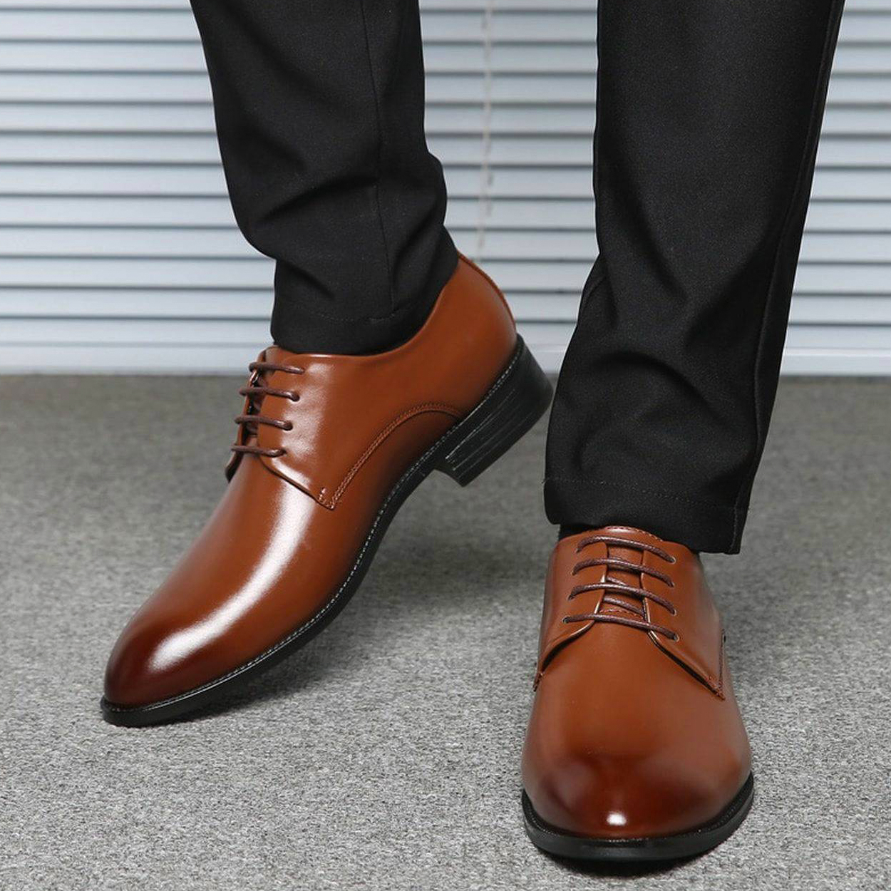 the right shade of black pants and brown shoes