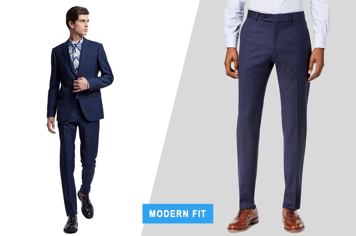 modern fit dress pants with suit