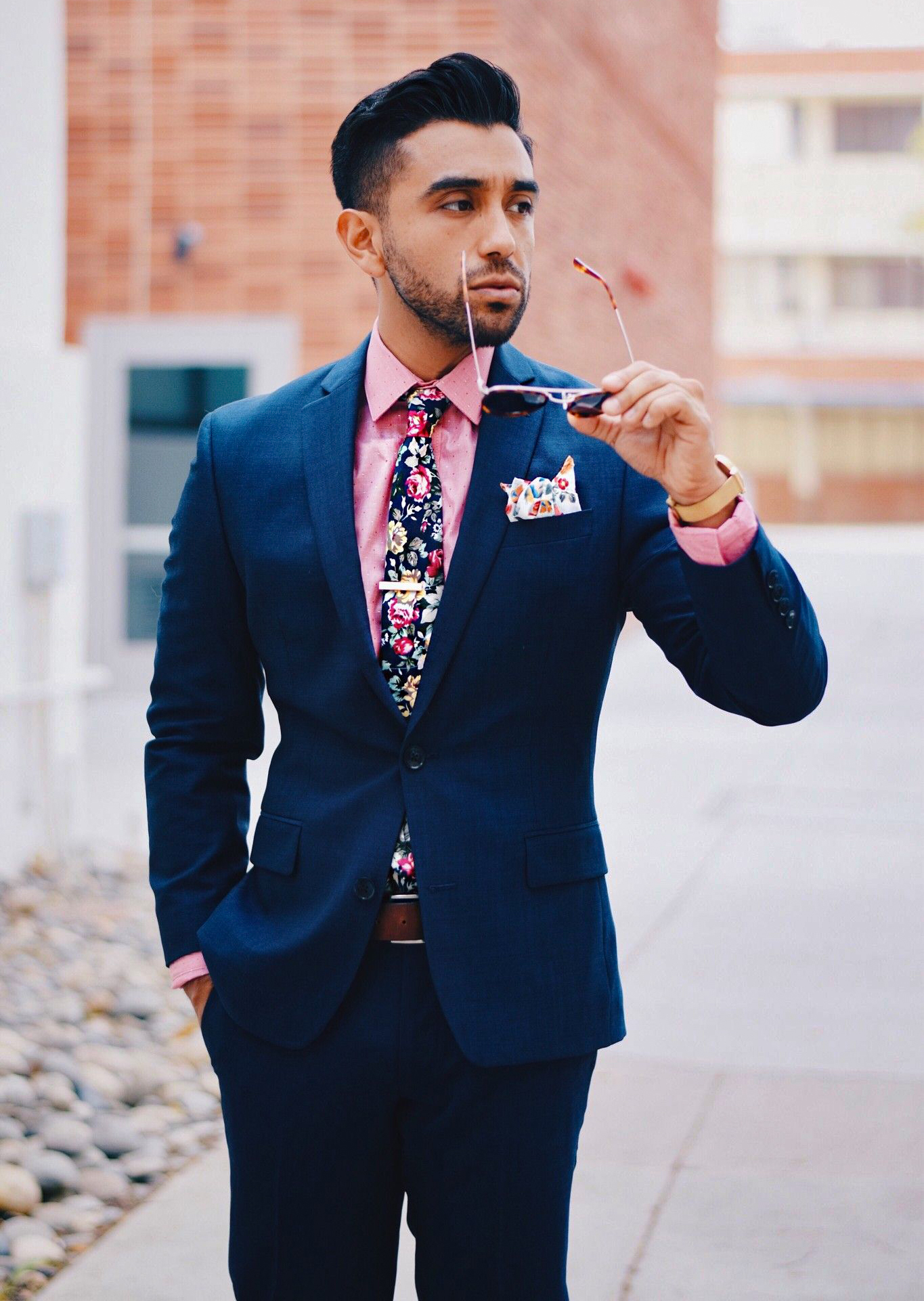 navy suit and pink shirt color combination