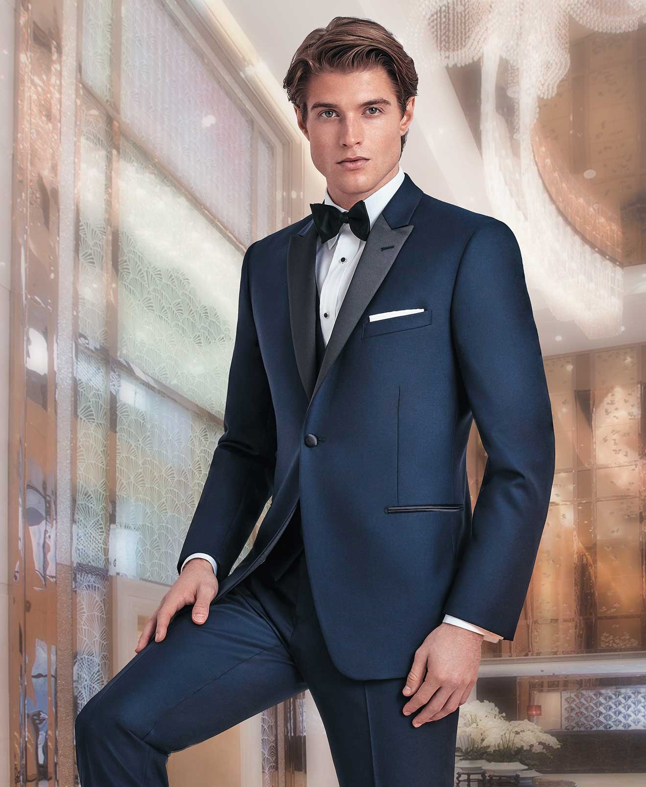 how to wear navy tuxedo