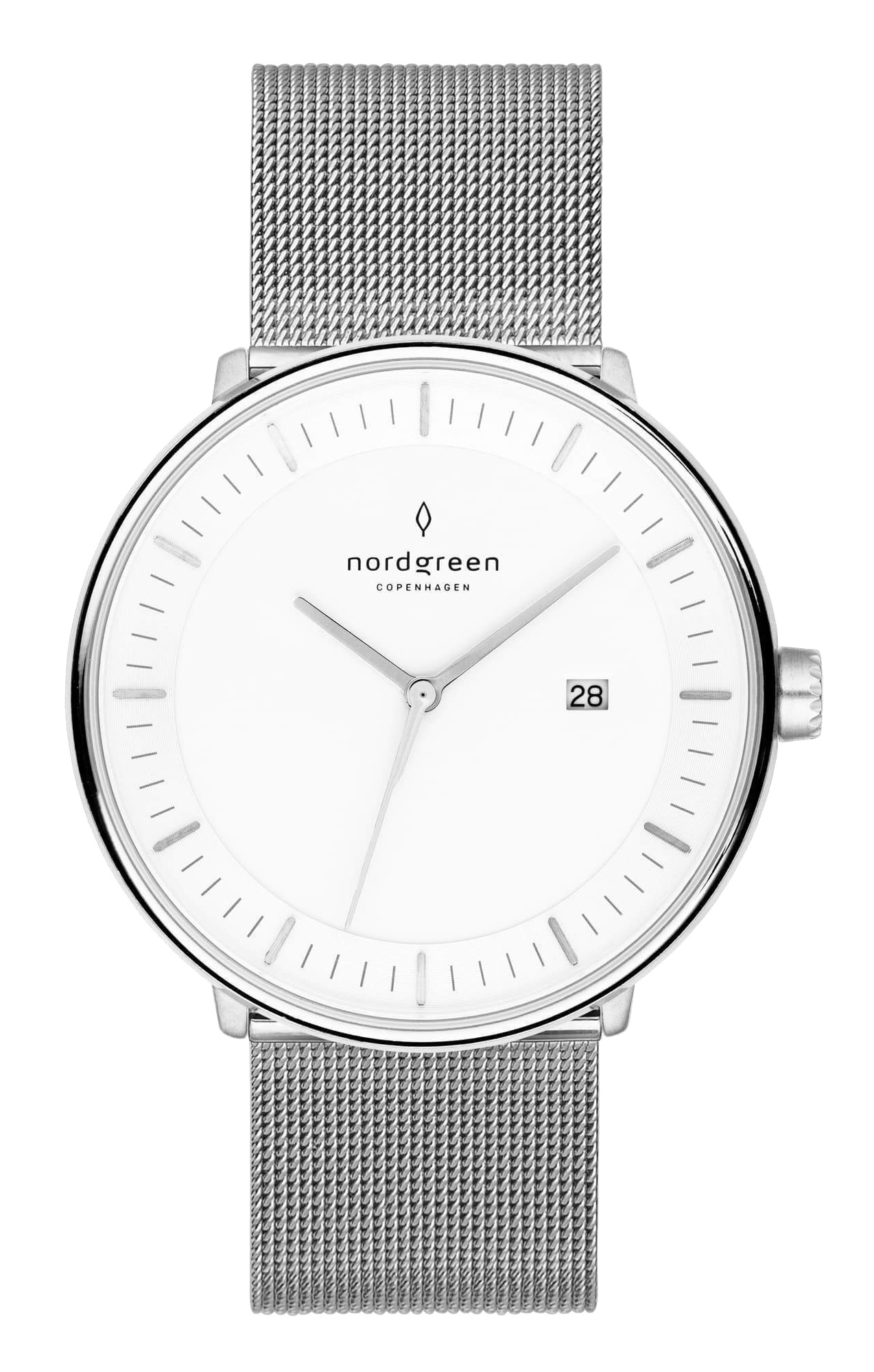 Nordgreen Philosopher silver mesh strap watch