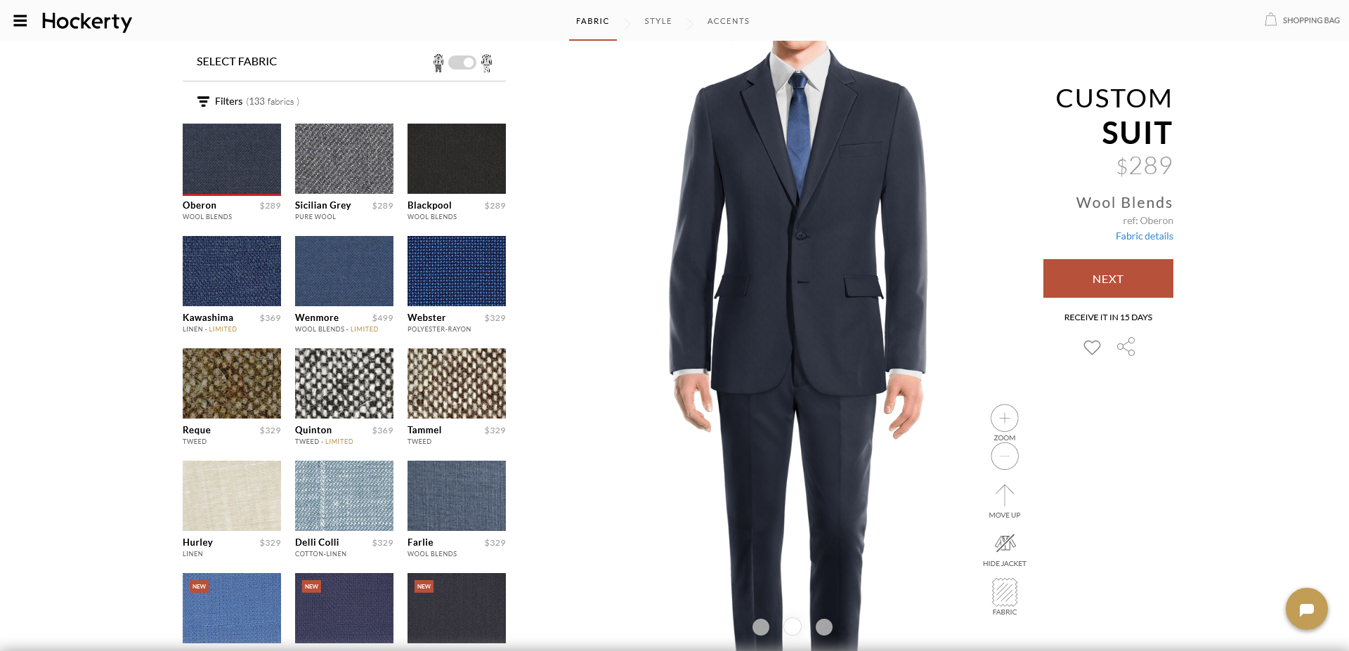 oberon: navy suit fabric from Hockerty