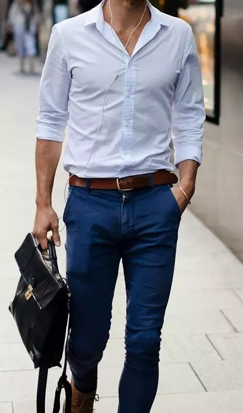 pale blue dress shirt with jeans combination