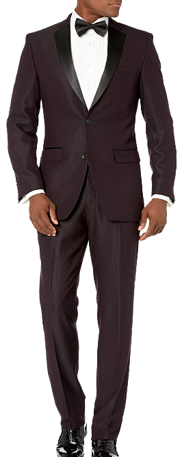 Notch lapel slim fit burgundy tuxedo by Perry Ellis