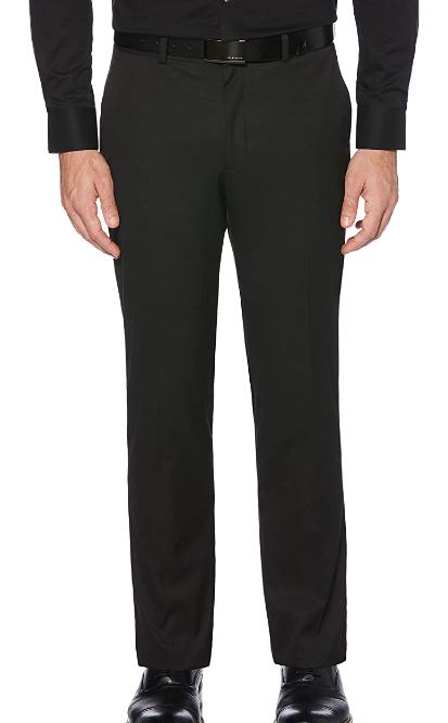 slim fit black dress pants by Perry Ellis