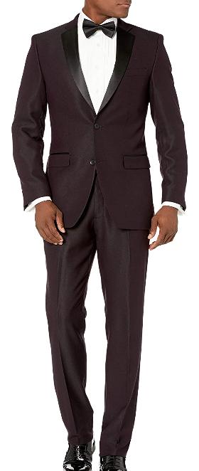 Slim-fit royal burgundy tuxedo by Perry Ellis