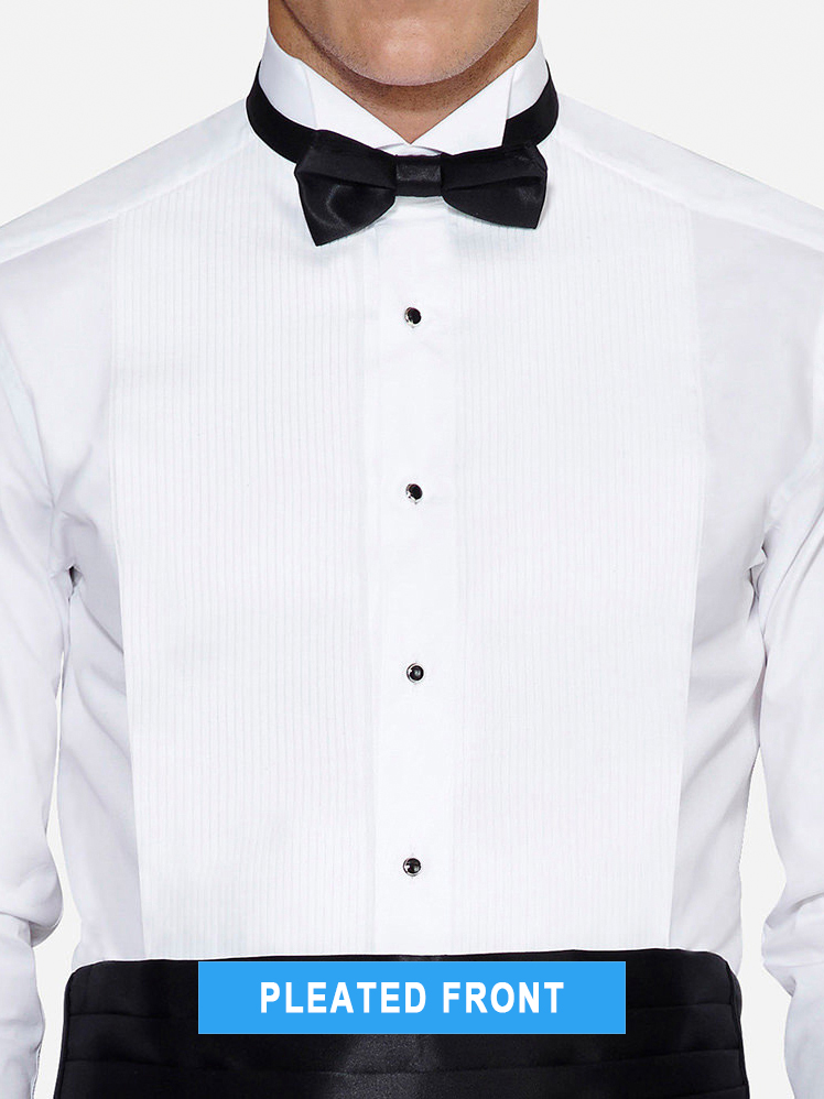 pleated tuxedo shirt front