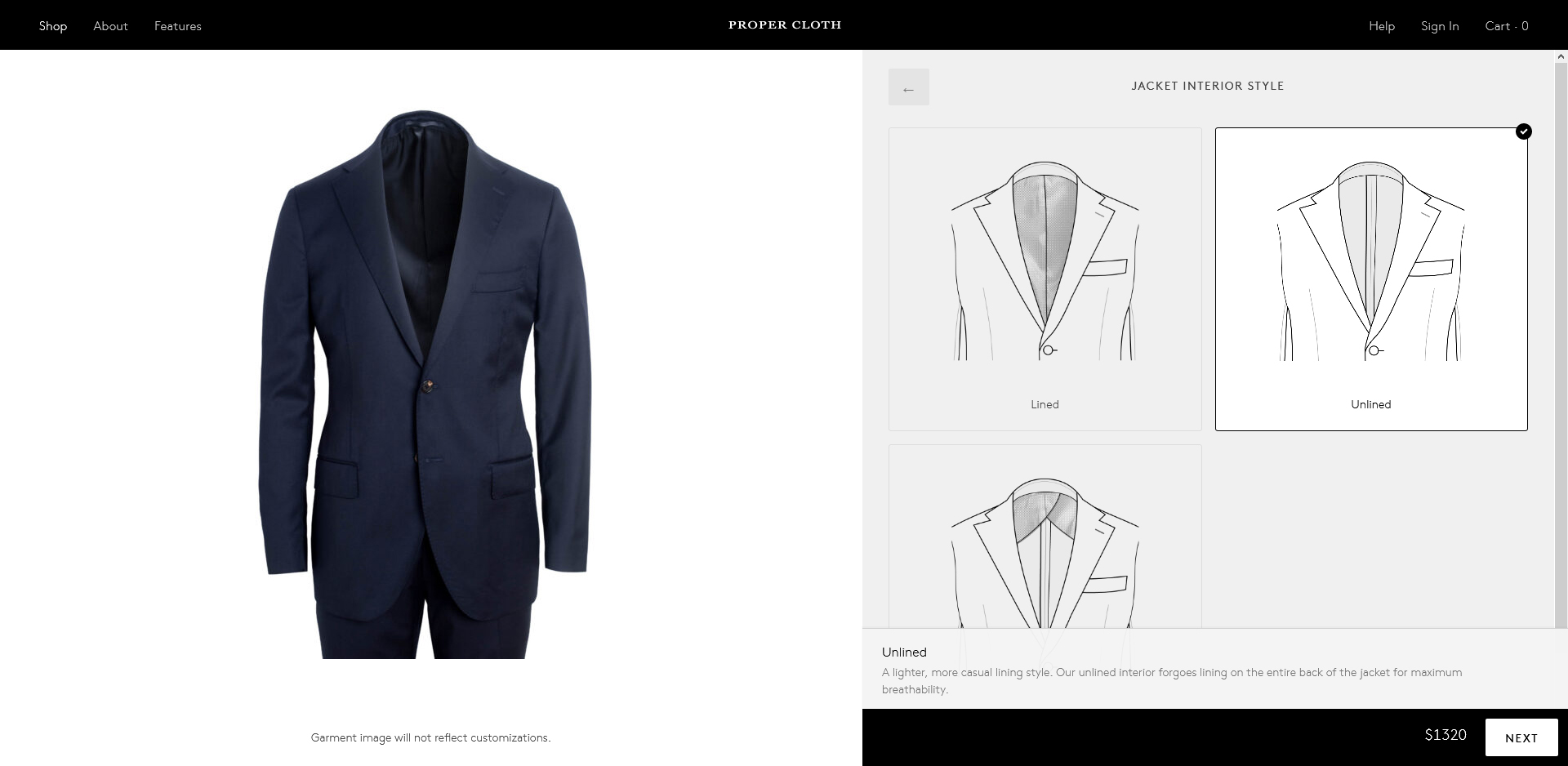 Proper Cloth made-to-measure suit jacket interior options