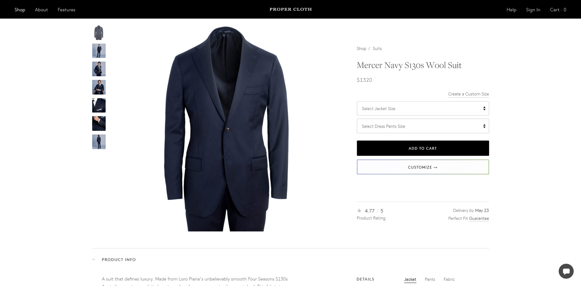 Proper Cloth made-to-measure online customization