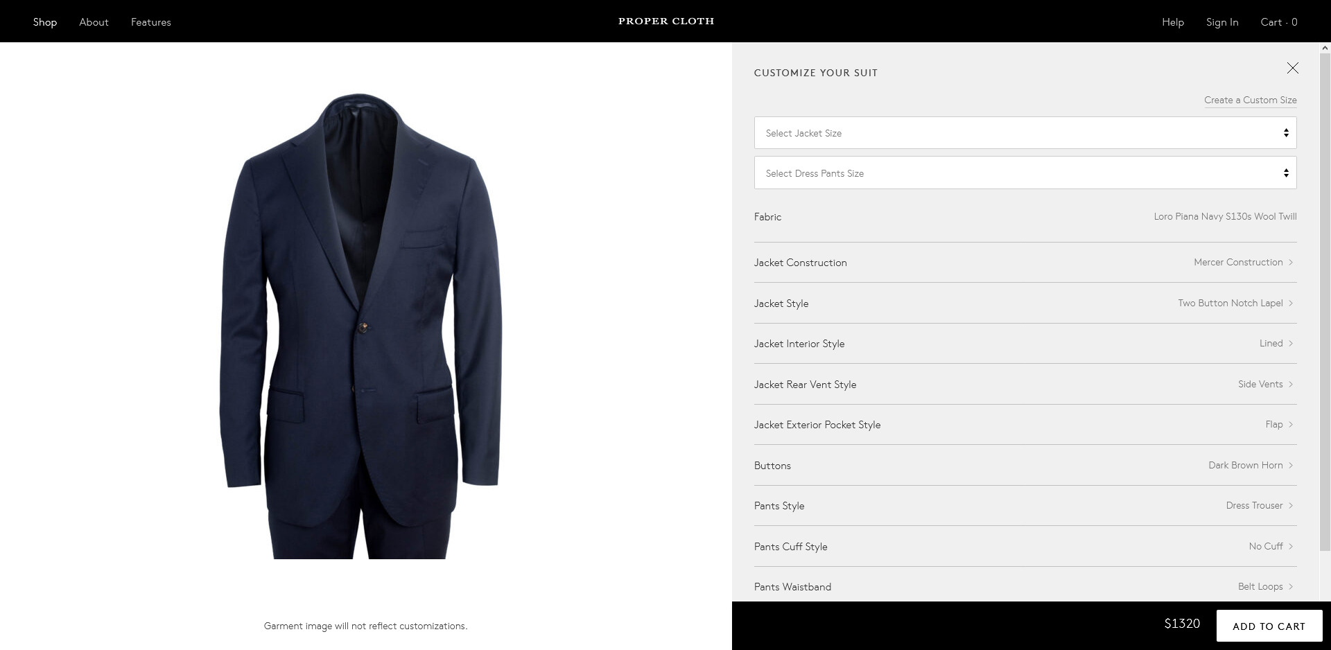 Proper Cloth made-to-measure suit style and design options