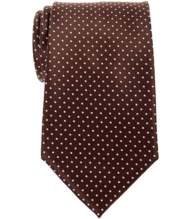 Brown tie with white dots by Retreez