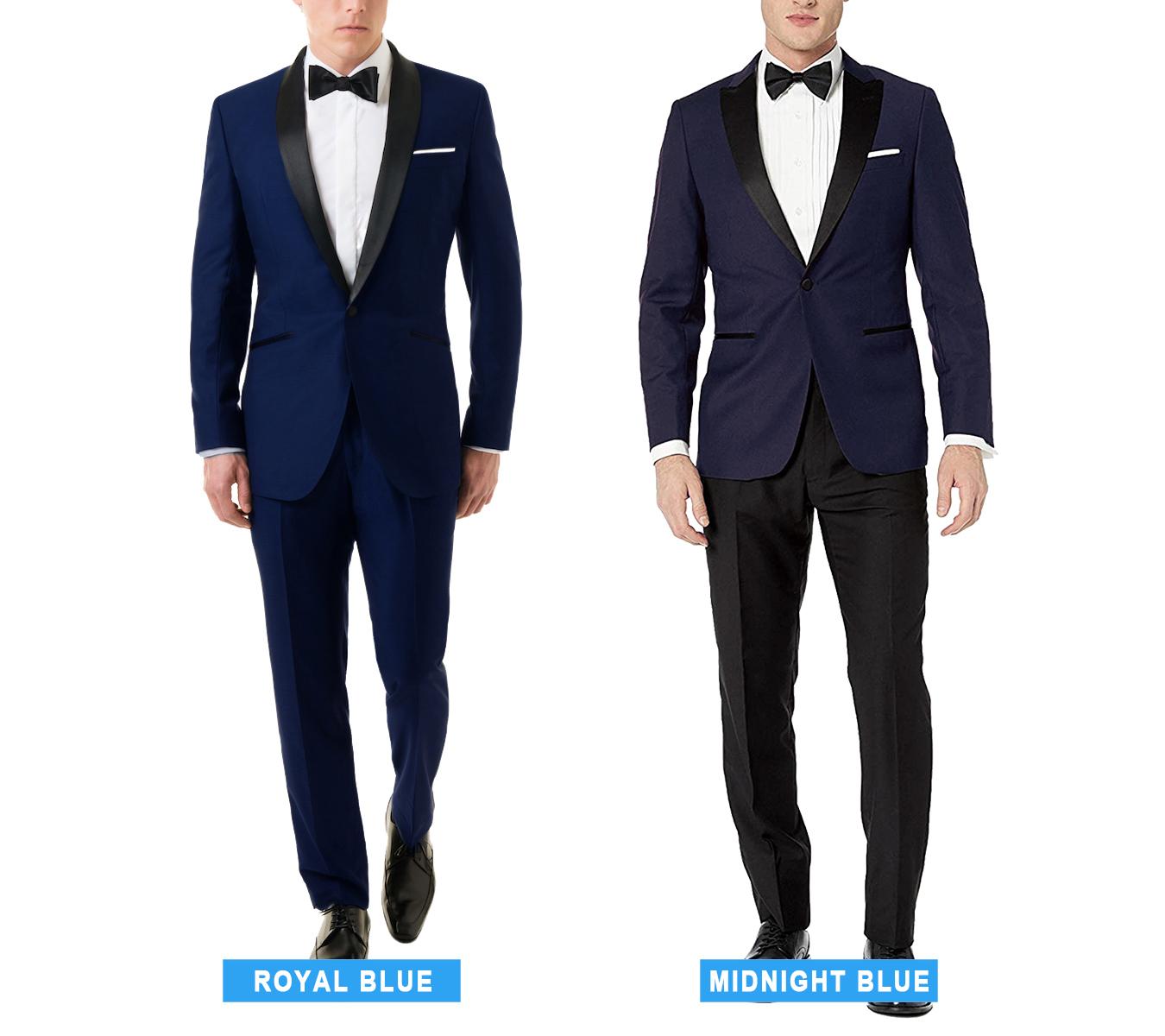 royal blue vs. midnight blue tuxedo