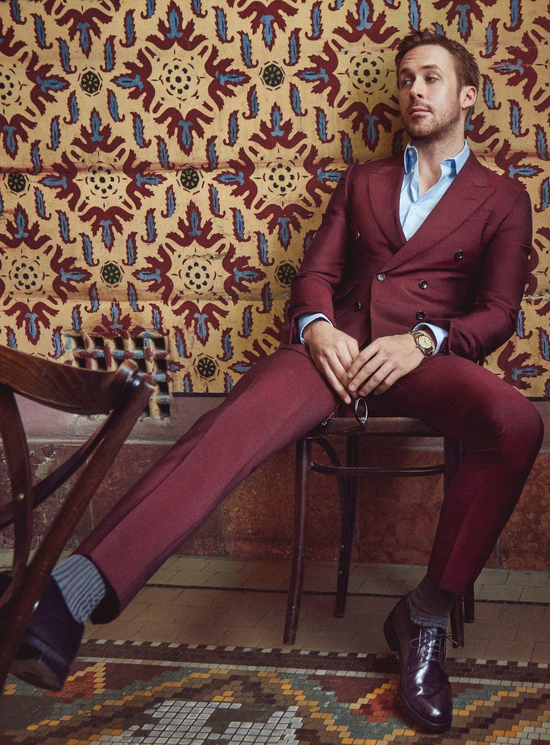 Burgundy suit & pale blue shirt color combination