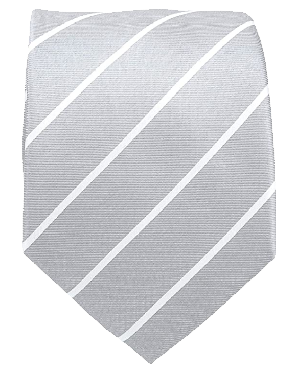 White striped light grey tie by Scott Allan