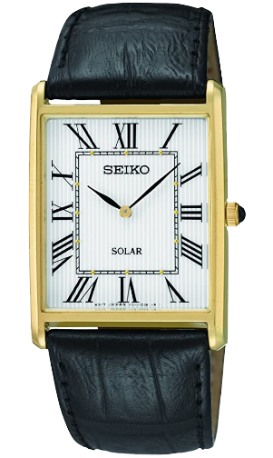 Seiko SUP880 black leather dress watch