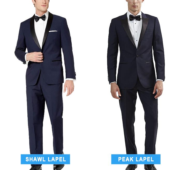 shawl lapel vs. peak lapel blue tuxedo