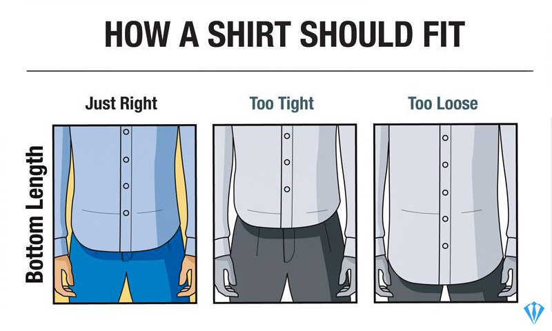 Dress shirt length fit and size