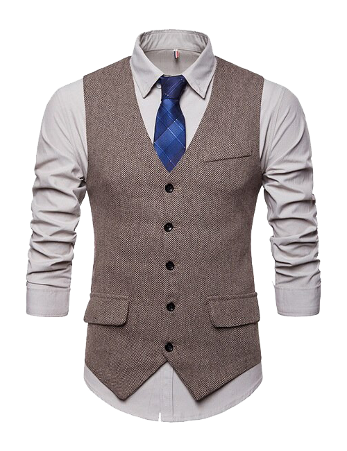 single-breasted five-button vest