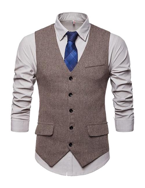 single-breasted five-button vest