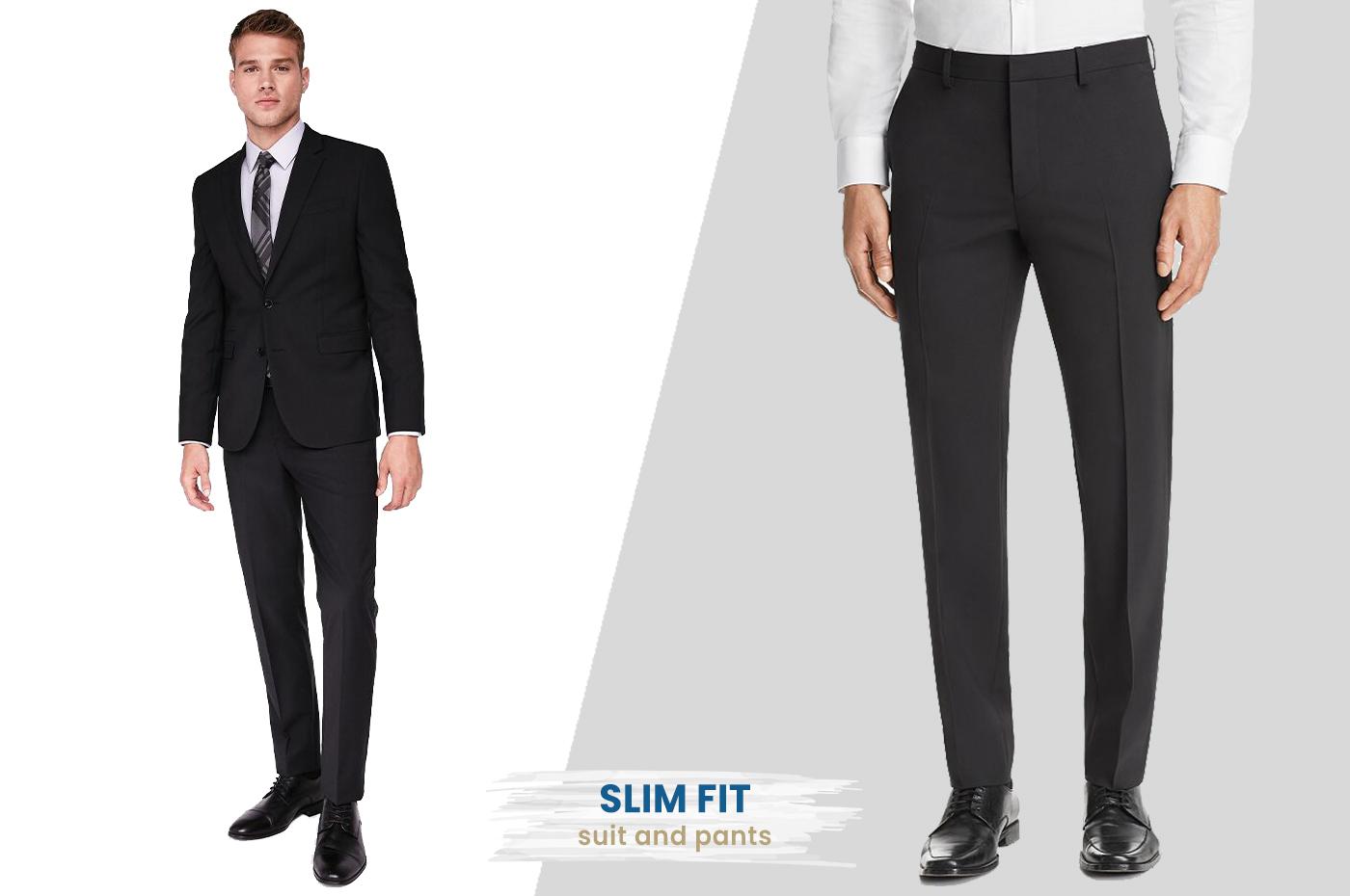 slim fit dress pants with suit
