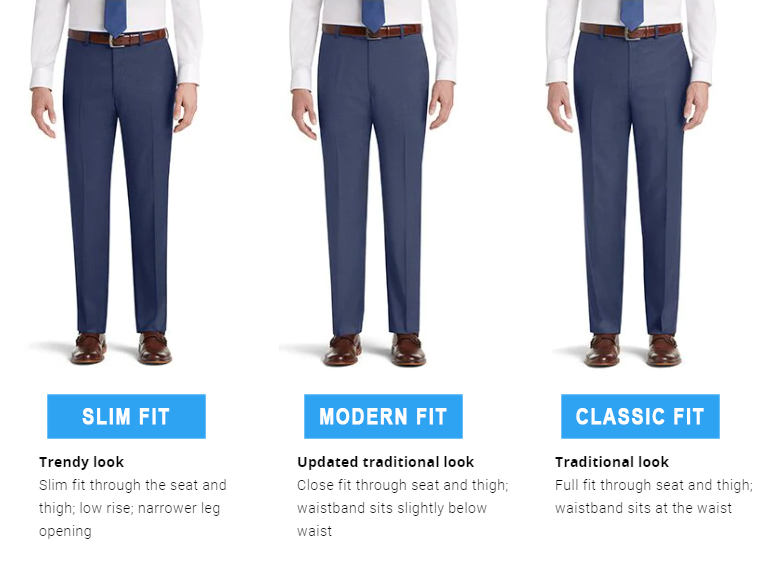 modern fit vs. slim fit vs. classic fit suit pants