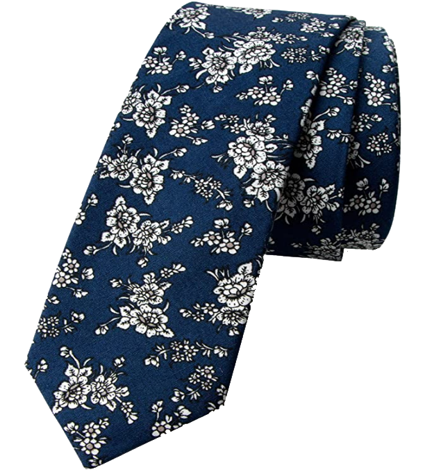 Navy white floral tie by Spring Notion