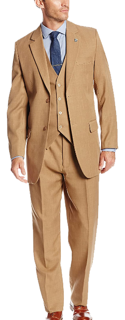 Classic-fit three-piece tan suit by Stacy Adams