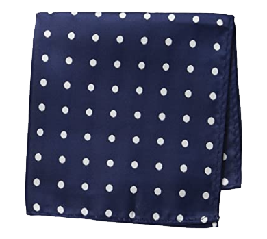 White-dotted navy pocket square set with tie by Stacy Adams