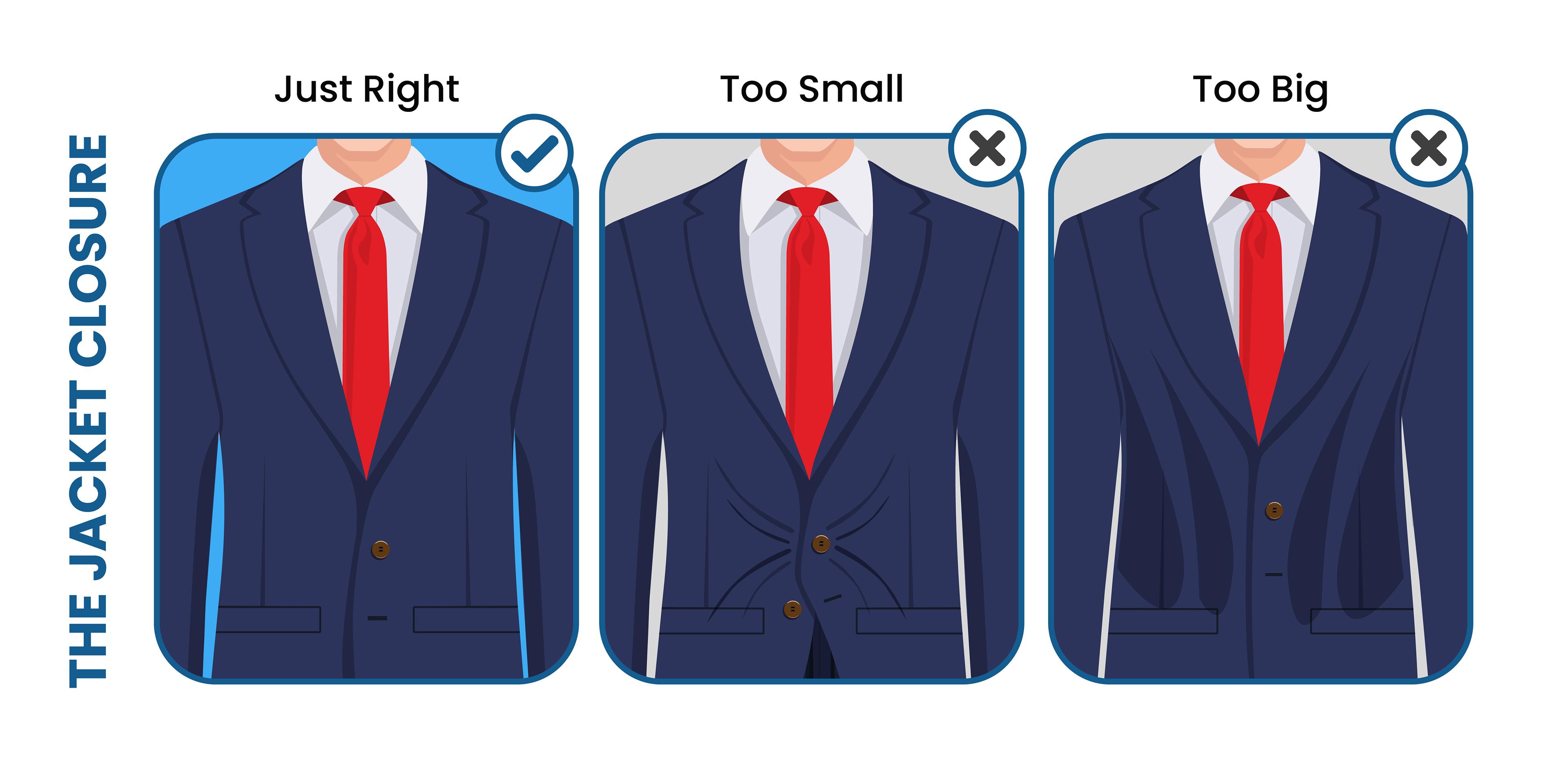 how the suit jacket closure should fit