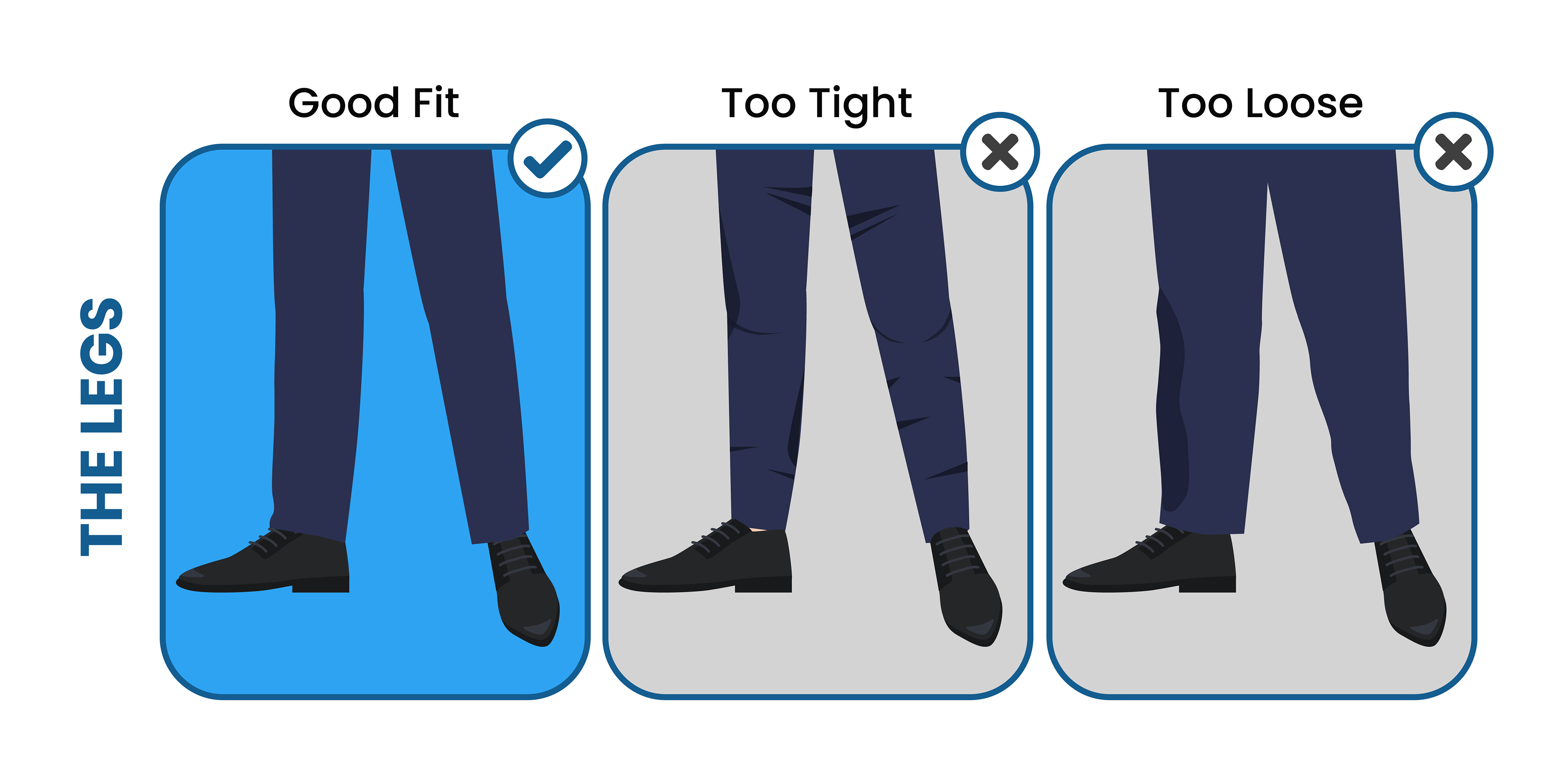 how the suit pants should fit in the legs