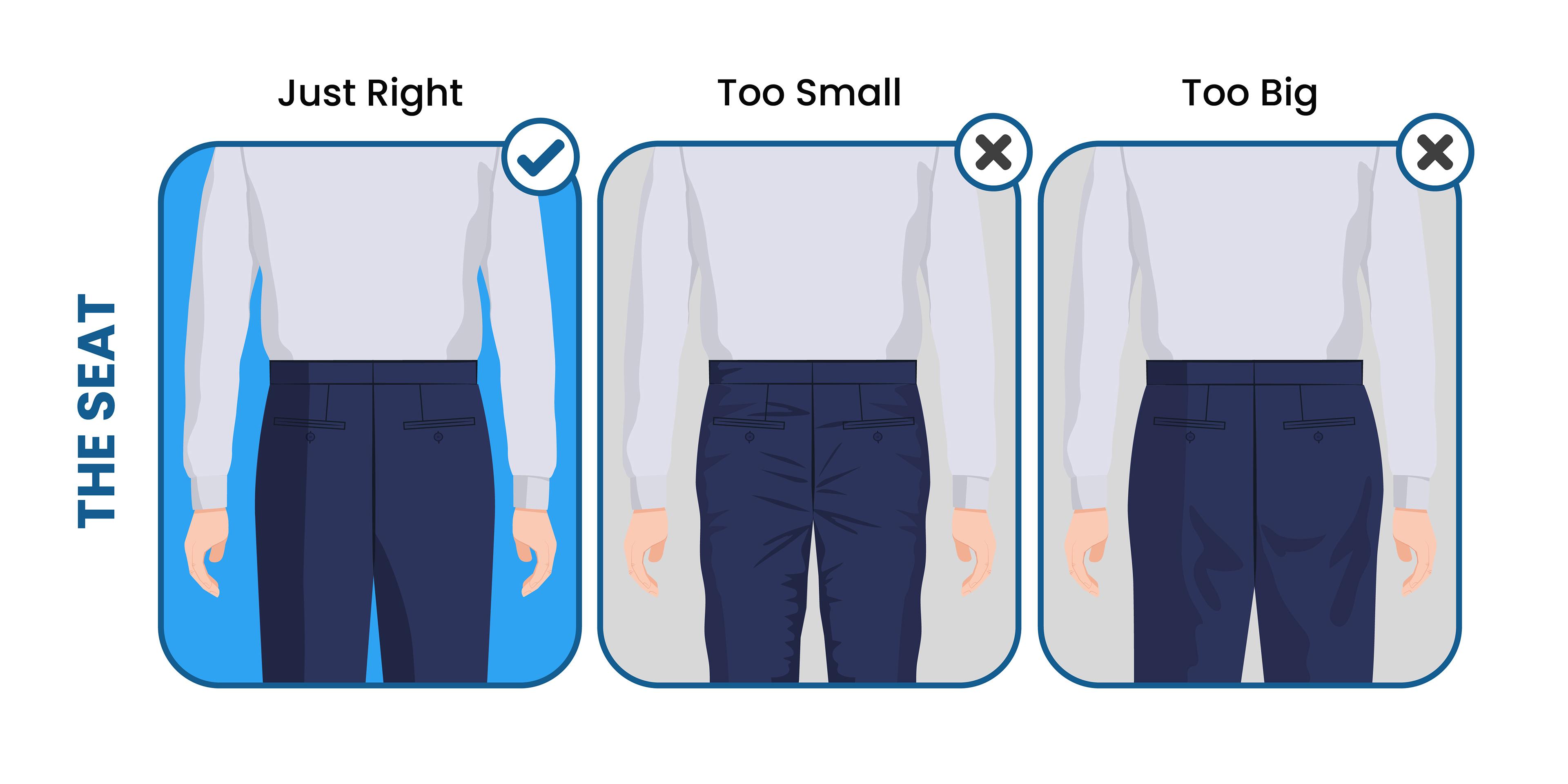how the suit pants seat should fit