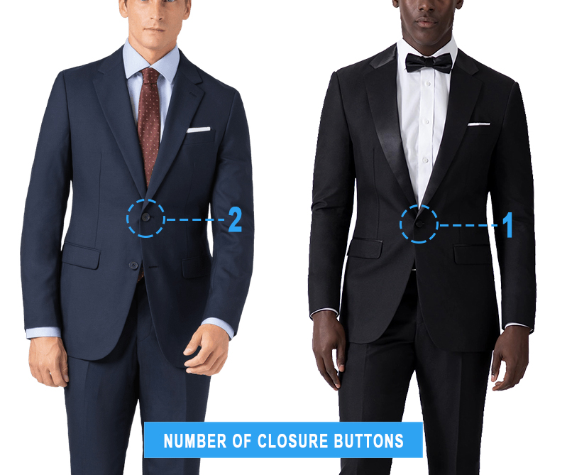 suit vs. tuxedo usual closure-buttons number