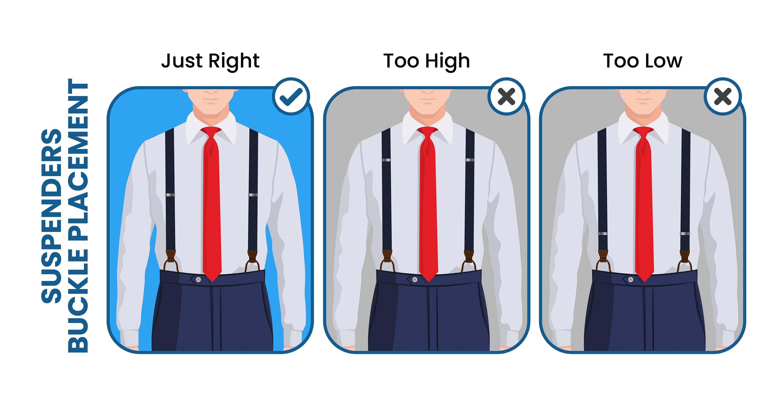 suspenders' buckle placement