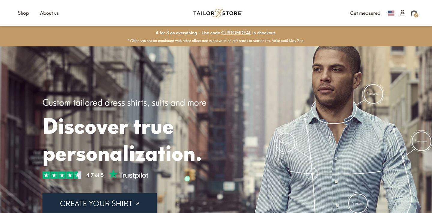 Tailor Store front page