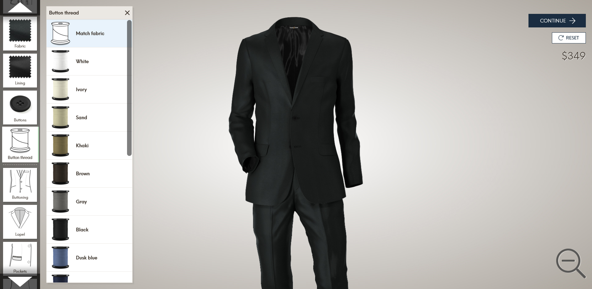 Tailor Store made-to-measure suit style & design options