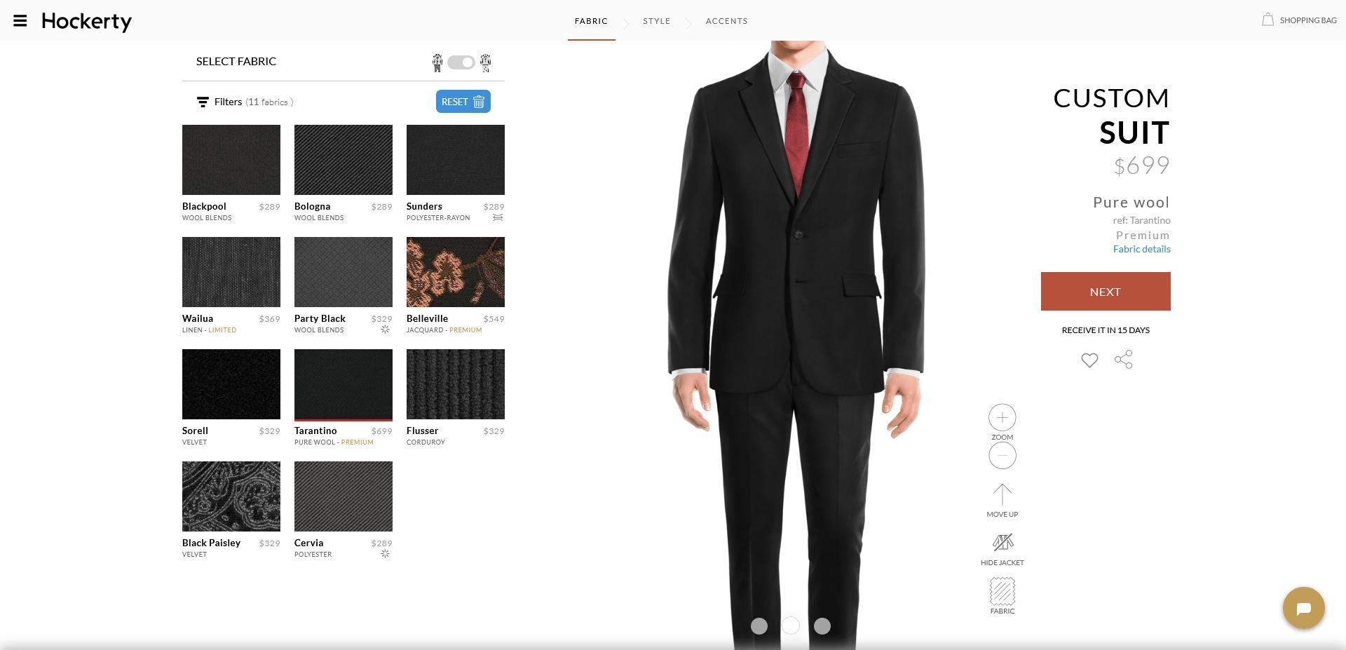 tarantino: black suit fabric from Hockerty